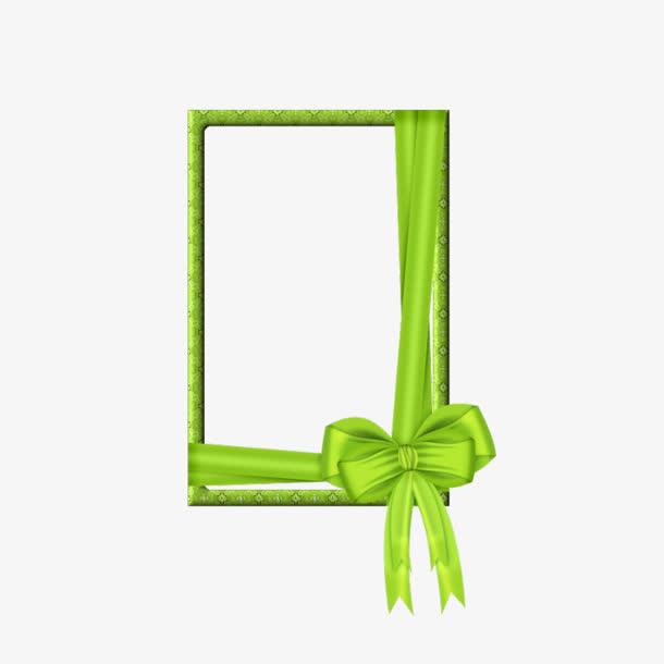 绿色蝴蝶结相框边框