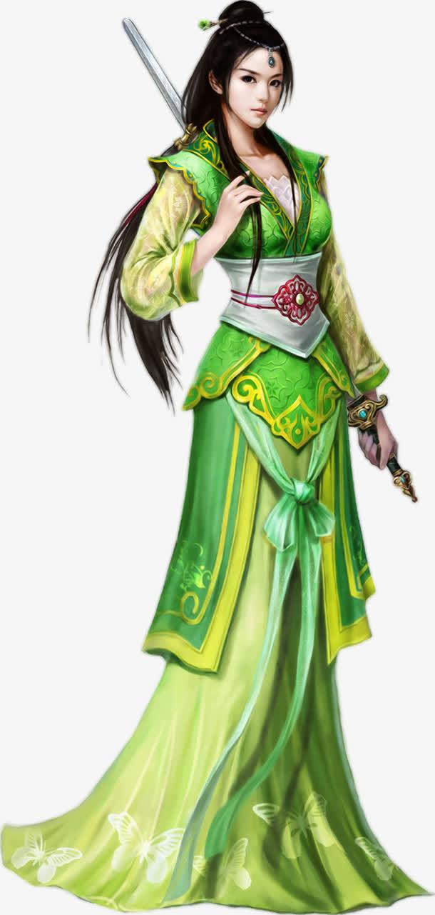 持剑古典美女png素材