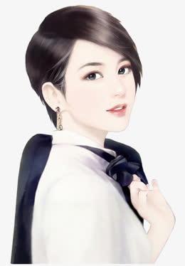 手绘短发领结美女