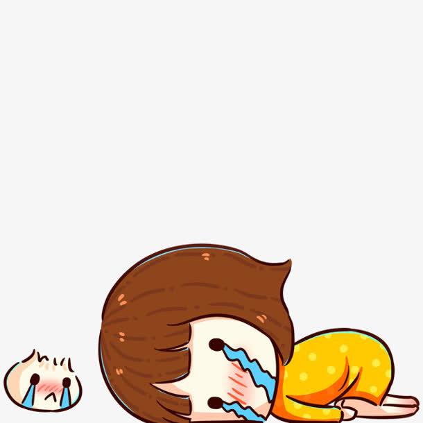 卡通哭泣的女孩