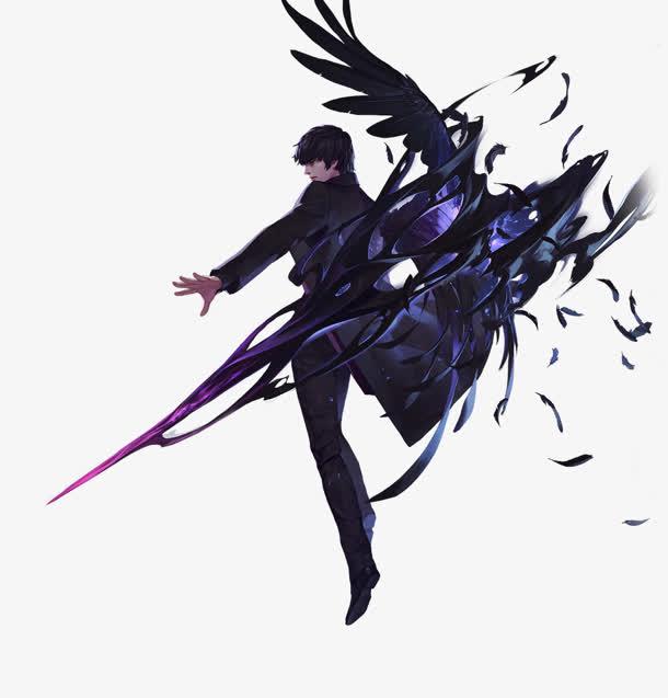 卡通黑翅膀蓝剑男子免抠素材免费下载_觅元素51yuansu