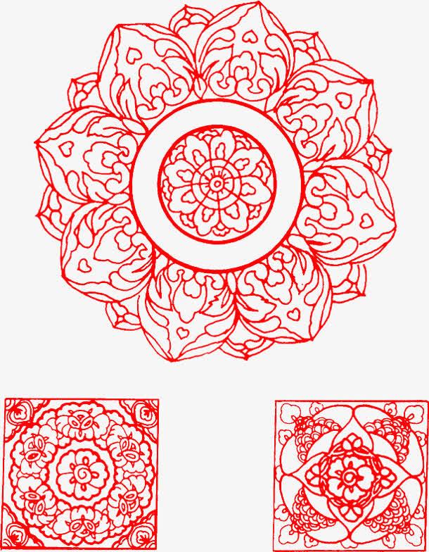 古风红色花纹圆形图案