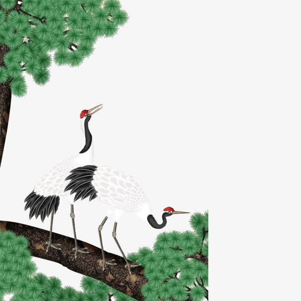 水墨画松树丹顶鹤