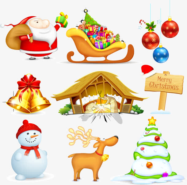 圣诞老人雪人雪橇麋鹿大集合