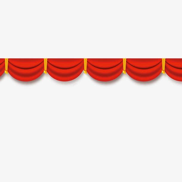 红色帷幕彩带边框装饰
