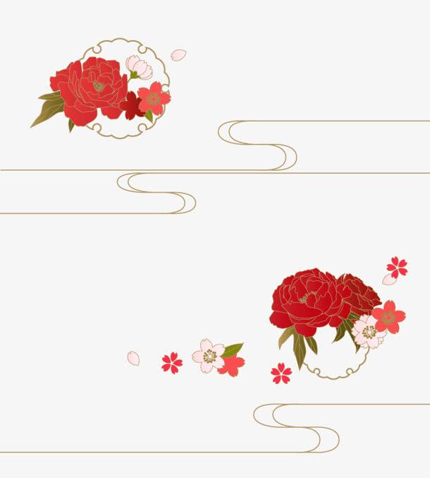 红色花朵古风花朵花纹