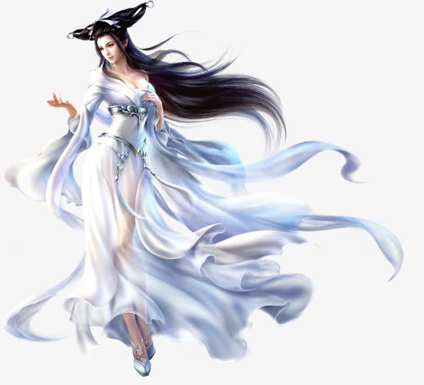 手绘游戏人物白衣长发美女