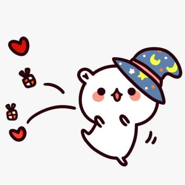 可爱兔子卡通表情开心跳起来