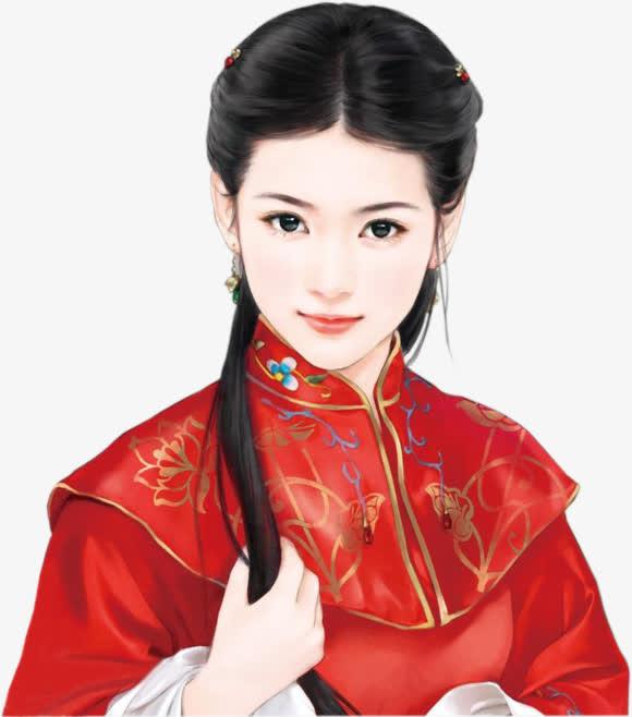 手绘红色连衣裙图