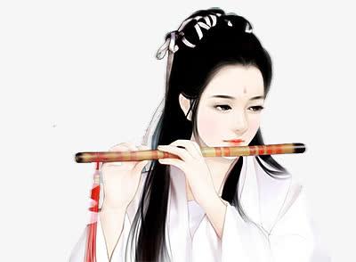 白衣吹笛子美女古风立绘