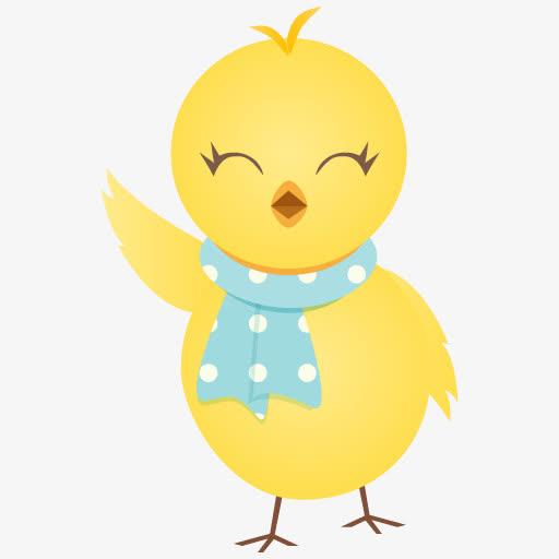 可爱黄色小鸡打招呼卡通
