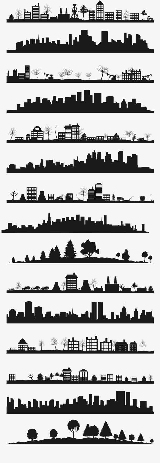 黑色城市建筑剪影大集合
