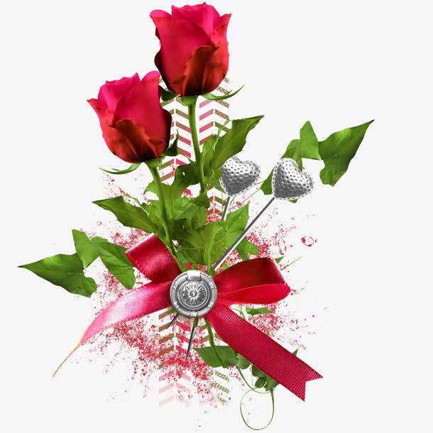 红色玫瑰花红色蝴蝶结素材免抠素材免费下载_觅元素51