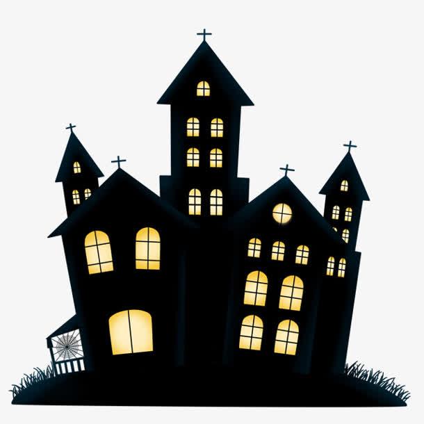 万圣节黑色建筑房屋免抠素材免费下载_觅元素51yuansu