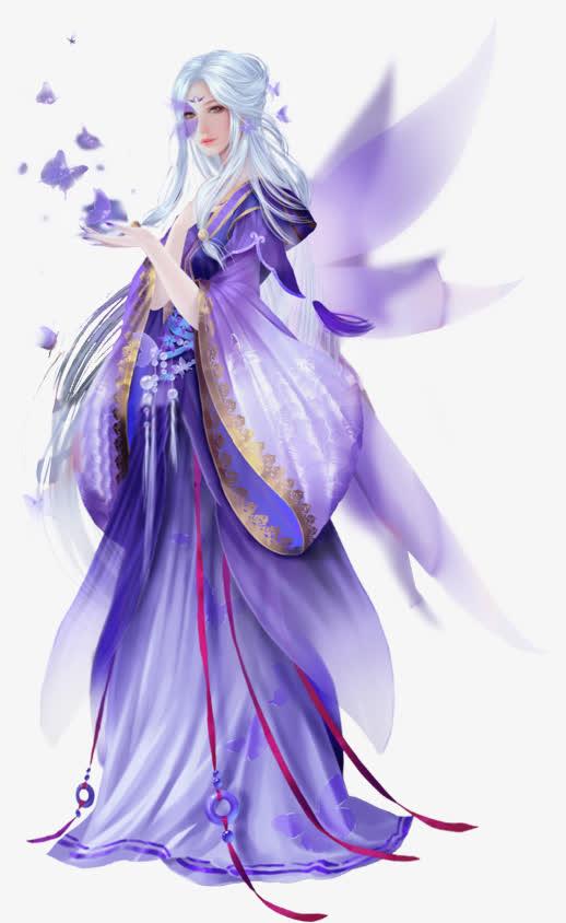 白发紫衣唯美古风女子