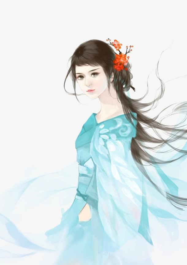 蓝衣花朵直率女子古风手绘免抠素材免费下载_觅元素51