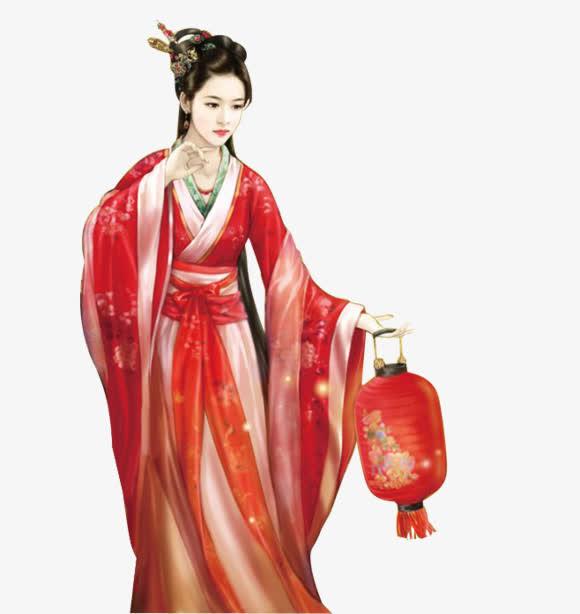 求动漫人物图片.中国风古代美女在冬天穿红衣服镶白毛图片