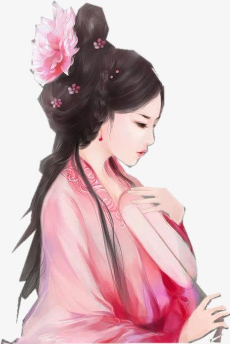 粉衣唯美古风手绘女子免抠素材免费下载_觅元素51.