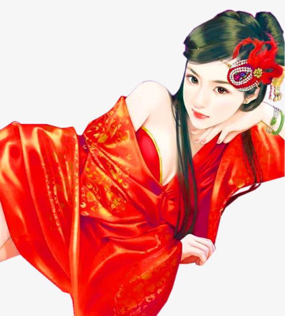 妖娆红衣美女古风手绘
