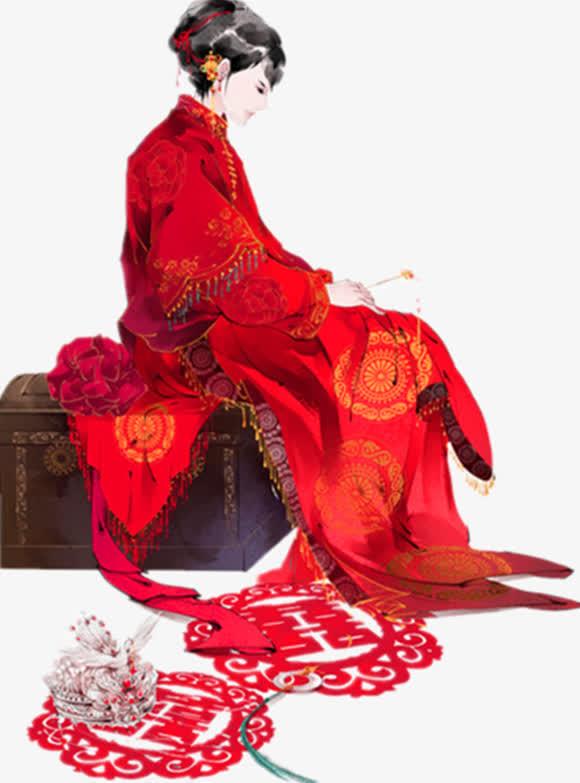 垂目的红衣新娘古风手绘