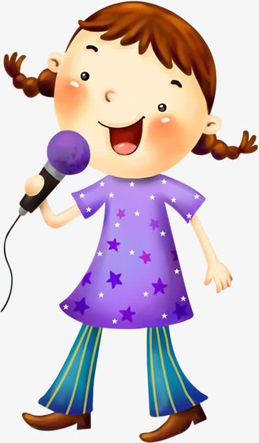 六一儿童节卡通61女孩唱歌麦霸可爱