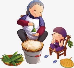 老奶奶端午节包粽子小孩