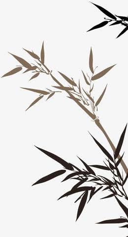 端午绿色枝叶墨迹竹叶