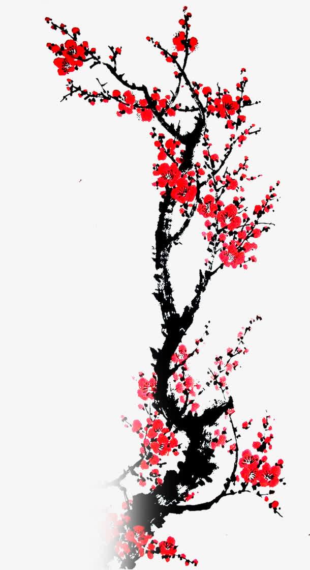 水墨画红梅素材