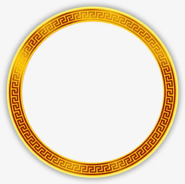 金色格子圆形边框免抠素材免费下载_觅元素51yuansu.