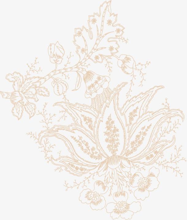 古风卡其色花朵手绘图片免抠素材免费下载_觅元素51.
