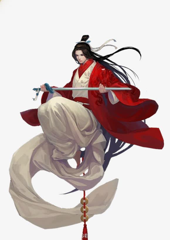 手绘/卡通 手绘元素 > 长剑红衣男子  收藏 [声明] 觅元素所有素材为