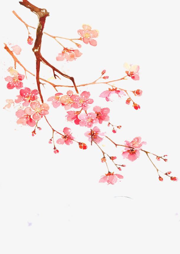 手绘花枝红色花朵免抠素材免费下载_觅元素51yuansu.