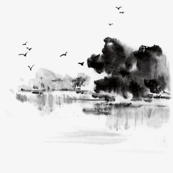 海鸥树木水墨画免抠素材免费下载_觅元素51yuansu.com