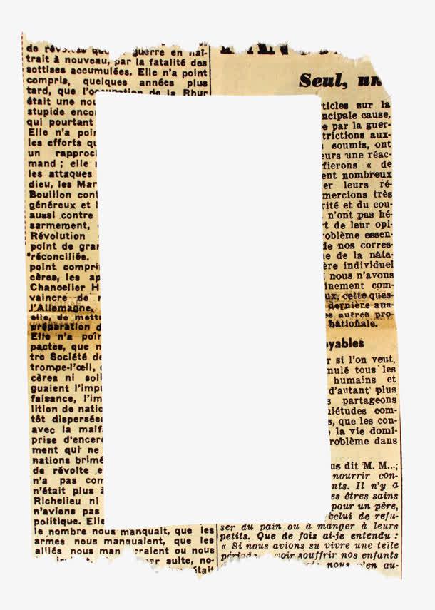 英文报纸艺术相框免抠素材免费下载_觅元素51yuansu.