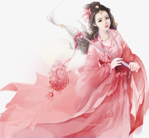提灯粉衣仙女古风手绘