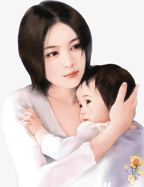 短发妈妈可爱宝宝