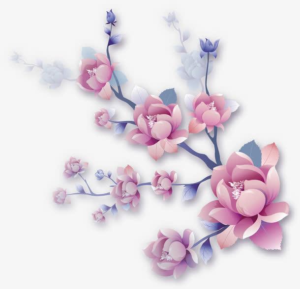 粉色手绘盛开花朵树枝七夕情人节