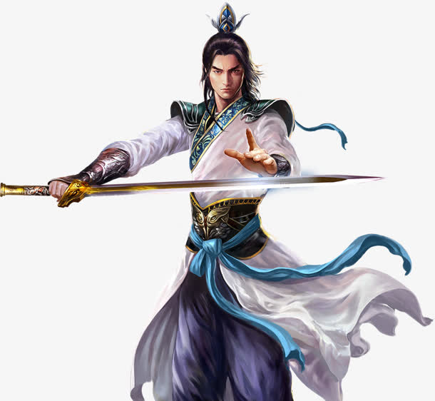 长剑白衣剑古风手绘免抠素材免费下载_觅元素51yuansu