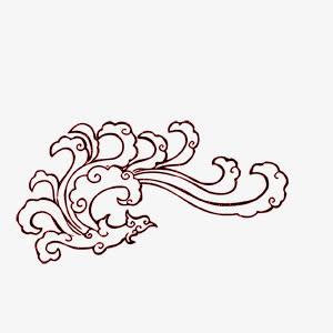 红色中国风浪花凤凰花纹