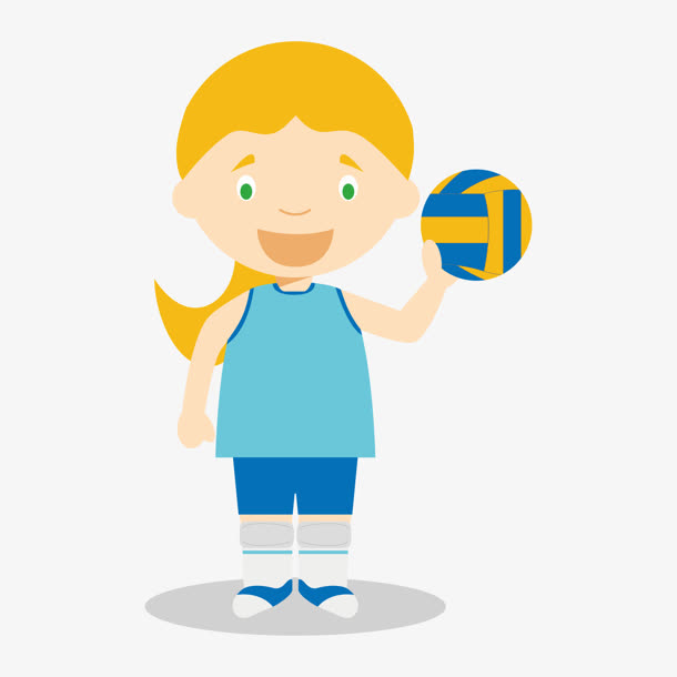 排球女孩卡通图片