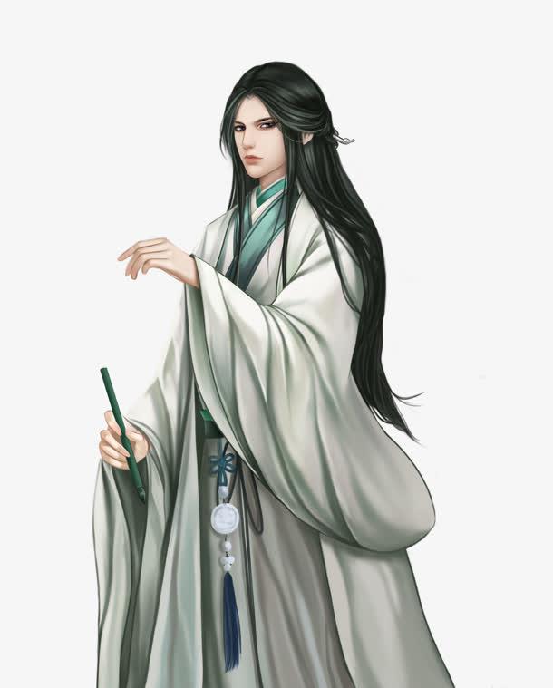 执笔的白衣美男古风手绘免抠素材免费下载_觅元素51.