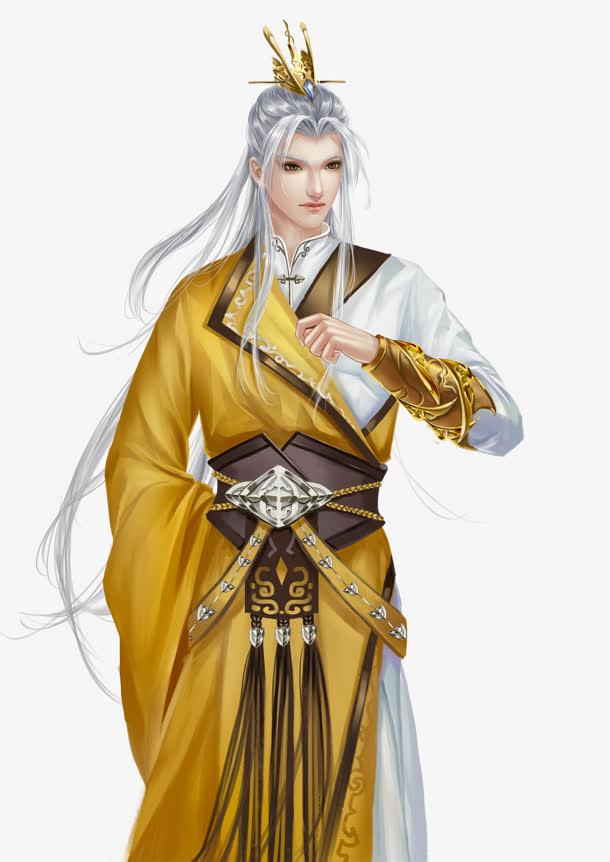 黄衣白发男子古风手绘