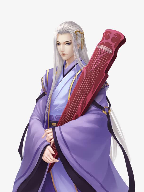 紫衣白发抱琴美男古风手绘
