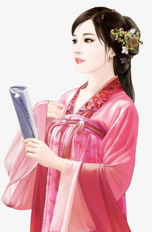 粉衣读书少女古风手绘