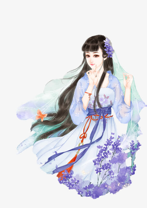 蓝紫裙素雅古风女子