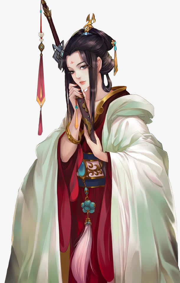 抱剑的优雅美女古风手绘