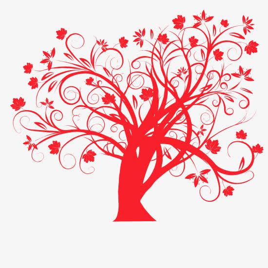 红色卷曲花纹大树剪纸背景