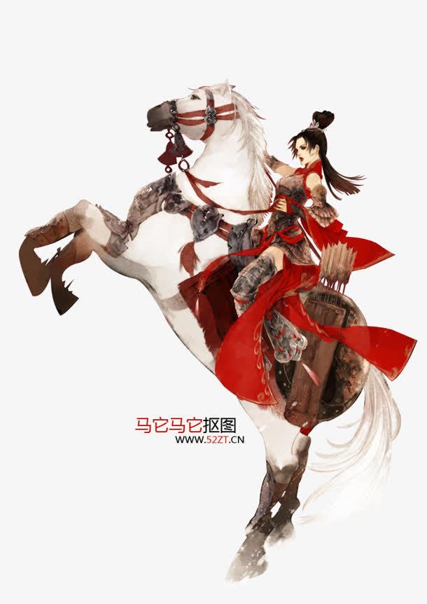 骑马的女将军古风手绘