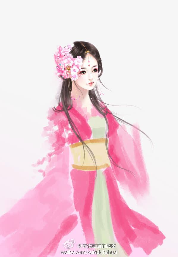 古代立绘粉衣女子红花素材