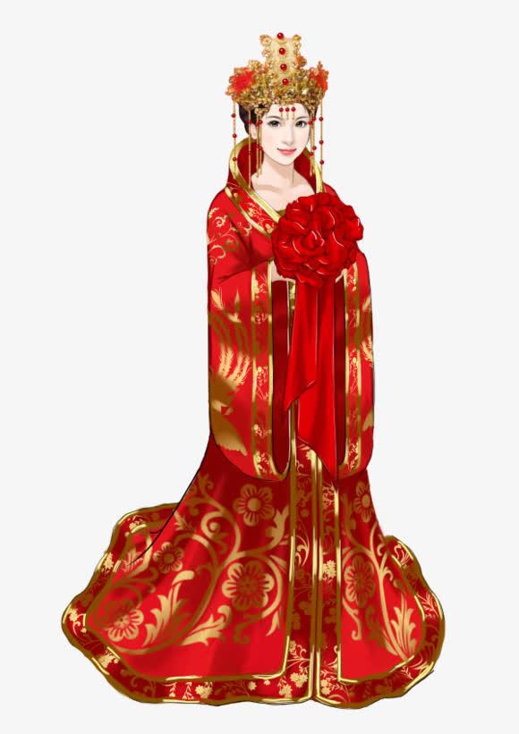 红衣新娘古风手绘